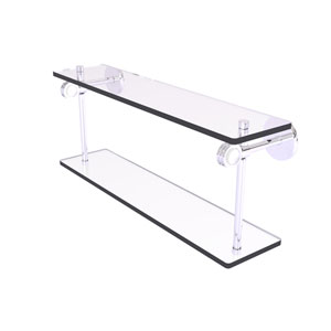 Clearview Polished Chrome 22-Inch Two Tiered Glass Shelf with Dotted Accents