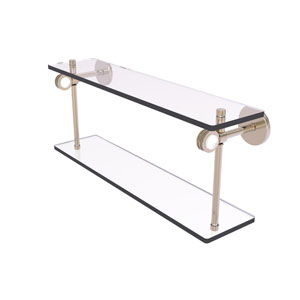 Clearview Antique Pewter 22-Inch Two Tiered Glass Shelf with Dotted Accents