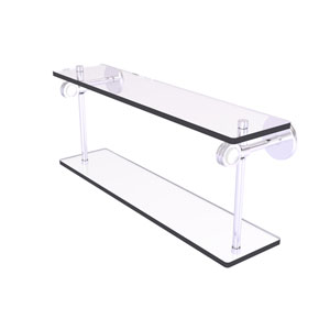 Clearview Satin Chrome 22-Inch Two Tiered Glass Shelf with Dotted Accents
