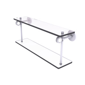 Clearview Matte White 22-Inch Two Tiered Glass Shelf with Dotted Accents