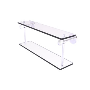 Clearview Polished Chrome 22-Inch Two Tiered Glass Shelf with Groovy Accents