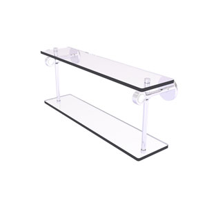 Clearview Satin Chrome 22-Inch Two Tiered Glass Shelf with Groovy Accents