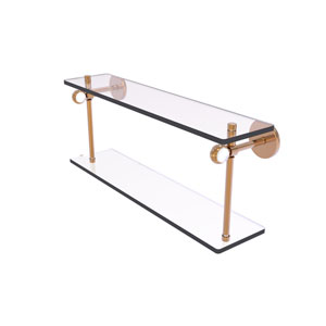 Clearview Brushed Bronze 16-Inch Two Tiered Glass Shelf with Twisted Accents