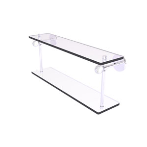 Clearview Polished Chrome 16-Inch Two Tiered Glass Shelf with Twisted Accents