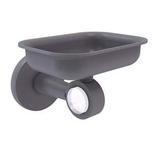 Clearview Matte Gray Four-Inch Wall Mounted Soap Dish Holder