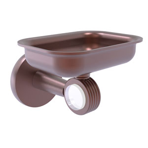 Clearview Antique Copper Four-Inch Wall Mounted Soap Dish Holder with Groovy Accents