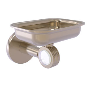 Clearview Antique Pewter Four-Inch Wall Mounted Soap Dish Holder with Groovy Accents