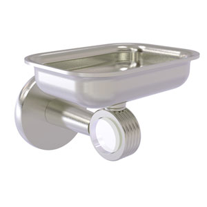 Clearview Satin Nickel Four-Inch Wall Mounted Soap Dish Holder with Groovy Accents