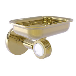 Clearview Unlacquered Brass Four-Inch Wall Mounted Soap Dish Holder with Groovy Accents