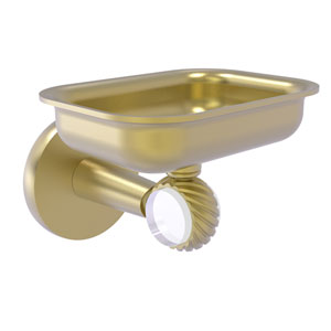 Clearview Satin Brass Four-Inch Wall Mounted Soap Dish Holder with Twisted Accents