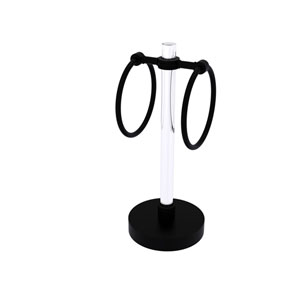 Clearview Matte Black Six-Inch Towel Ring with Dotted Accents