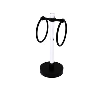 Clearview Matte Black Six-Inch Towel Ring with Groovy Accents