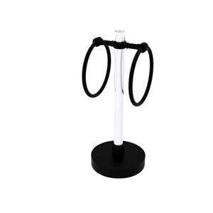 Clearview Matte Black Six-Inch Vanity Top Guest Towel Ring with Twisted Accents