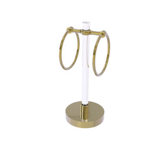 Clearview Unlacquered Brass Six-Inch Vanity Top Guest Towel Ring with Twisted Accents