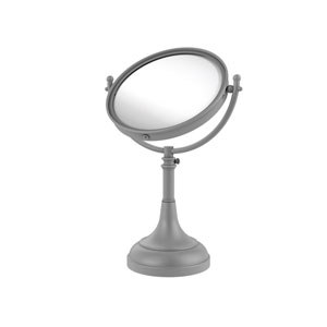 Matte Gray Eight-Inch Height Adjustable Vanity Top Make-Up Mirror 2X Magnification