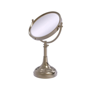Antique Pewter Eight-Inch Height Adjustable Vanity Top Make-Up Mirror 2X Magnification