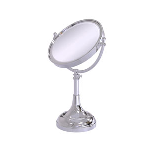 Polished Chrome Eight-Inch Height Adjustable Vanity Top Make-Up Mirror 4X Magnification