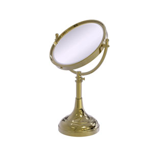 Unlacquered Brass Eight-Inch Height Adjustable Vanity Top Make-Up Mirror 4X Magnification