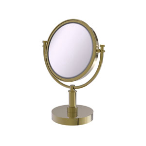 Unlacquered Brass Eight-Inch Vanity Top Make-Up Mirror 4X Magnification