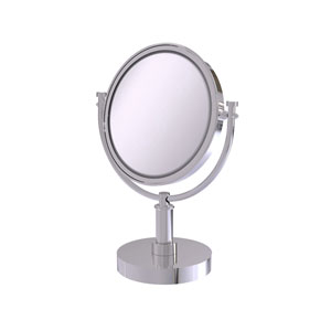 Polished Chrome Eight-Inch Vanity Top Make-Up Mirror with 5X Magnification
