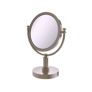 Antique Pewter Eight-Inch Vanity Top Make-Up Mirror with 5X Magnification