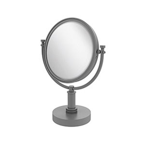 Matte Gray Eight-Inch Vanity Top Make-Up Mirror with 5X Magnification