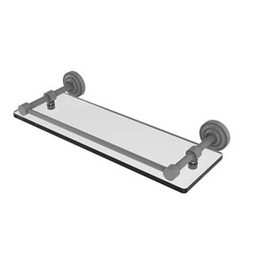 Dottingham Matte Gray 16-Inch Glass Shelf with Gallery Rail