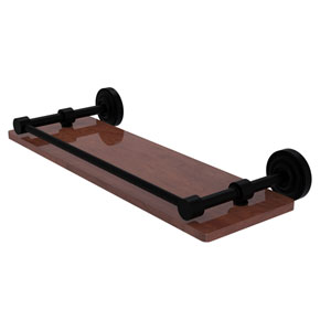 Dottingham Matte Black 16-Inch Solid IPE Ironwood Shelf with Gallery Rail