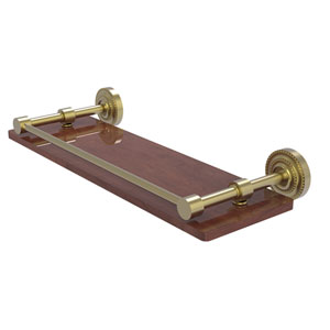 Dottingham Satin Brass 16-Inch Solid IPE Ironwood Shelf with Gallery Rail