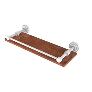 Dottingham Matte White 16-Inch Solid IPE Ironwood Shelf with Gallery Rail