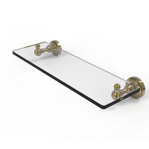 Dottingham Unlacquered Brass 16-Inch Single Glass Shelf