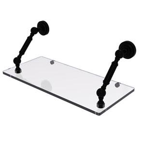 Dottingham Matte Black 18-Inch Floating Glass Shelf