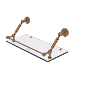 Dottingham Brushed Bronze 18-Inch Floating Glass Shelf with Gallery Rail