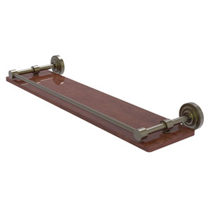 Dottingham Antique Brass 22-Inch Solid IPE Ironwood Shelf with Gallery Rail