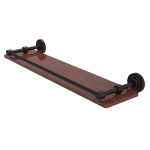 Dottingham Antique Bronze 22-Inch Solid IPE Ironwood Shelf with Gallery Rail