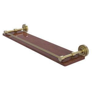 Dottingham Satin Brass 22-Inch Solid IPE Ironwood Shelf with Gallery Rail