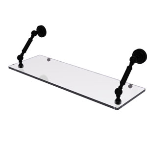 Dottingham Matte Black 24-Inch Floating Glass Shelf