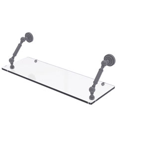 Dottingham Matte Gray 24-Inch Floating Glass Shelf