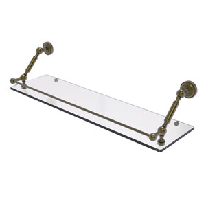 Dottingham Antique Brass 30-Inch Floating Glass Shelf with Gallery Rail