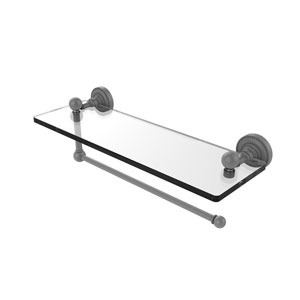 Dottingham Matte Gray 16-Inch Paper Towel Holder with Glass Shelf