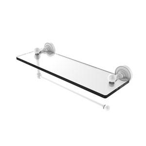 Dottingham Matte White 16-Inch Paper Towel Holder with Glass Shelf