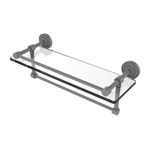 Dottingham Matte Gray 16-Inch Glass Shelf with Towel Bar