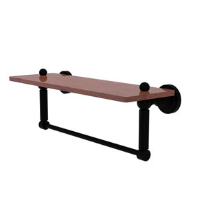 Dottingham Matte Black 16-Inch Solid IPE Ironwood Shelf with Integrated Towel Bar
