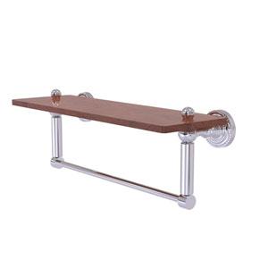Dottingham Polished Chrome 16-Inch Solid IPE Ironwood Shelf with Integrated Towel Bar