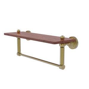 Dottingham Satin Brass 16-Inch Solid IPE Ironwood Shelf with Integrated Towel Bar