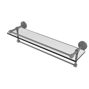 Dottingham Matte Gray 22-Inch Glass Shelf with Towel Bar