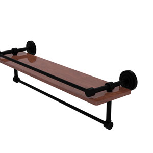 Dottingham Matte Black 22-Inch IPE Ironwood Shelf with Gallery Rail and Towel Bar