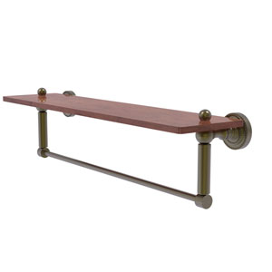 Dottingham Antique Brass 22-Inch Solid IPE Ironwood Shelf with Integrated Towel Bar