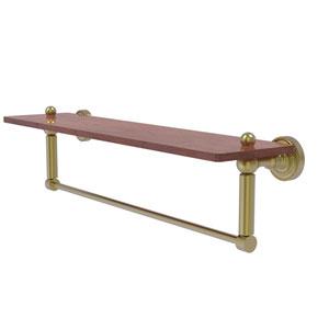 Dottingham Satin Brass 22-Inch Solid IPE Ironwood Shelf with Integrated Towel Bar