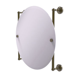 Dottingham Antique Brass 22-Inch Round Frameless Rail Mounted Mirror